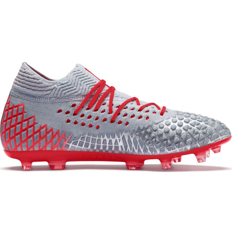 Puma Future 4.1 Netfit Fg Ag M 105579 01 football shoes grey red, gray / silver