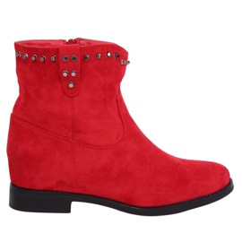 Red Boots on a hidden wedge red G-7606 Red