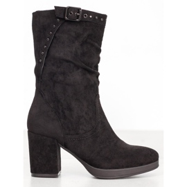 SHELOVET High Boots With A Buckle black