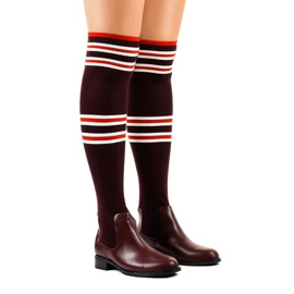 Burgundy thigh boots sock FD-69 red
