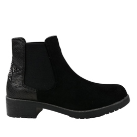 Black suede flat boots with a star SHN2221