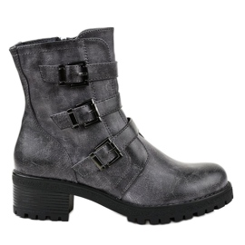 Navy blue insulated high boots decorated 2012
