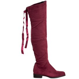 SHELOVET Suede Boots With Binding red