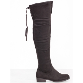 SHELOVET Suede Boots With Binding black