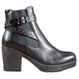 SHELOVET Platform Boots With Rhinestones black