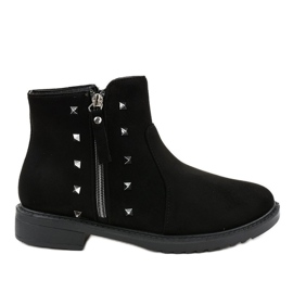 Black flat women's boots with fur CH-26