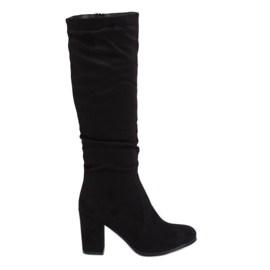 Classic black high heels boots 750-05 Black