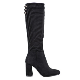SHELOVET Suede Boots With Cubic Zirconia black