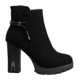 SHELOVET Textile Platform Ankle Boots black