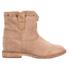 Bella Paris Suede Boots With Rhinestones