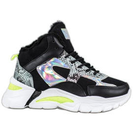 Bella Paris Sneakers with holo effect black