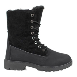 SHELOVET Black Trappers With Fur