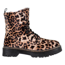 SHELOVET Suede Workers Leopard Print brown