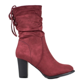 J. Star High Burgundy Boots red