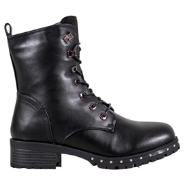 J. Star Lace-up Workers With Crystals black