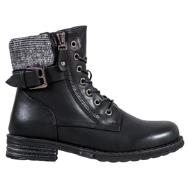 J. Star Lace-up boots made of eco leather black