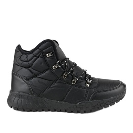 Black insulated laced boots F118-1