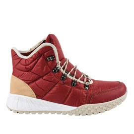 Red insulated lace-ups F118-1