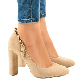 Beige suede pumps with high heels LE037P brown