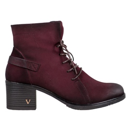VINCEZA Lace-up Ankle Boots red