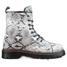 SHELOVET Workers Made of Eco Leather Snake Print white