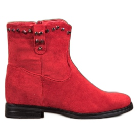 Ideal Shoes Warm Cowboy Boots With Rhinestones red