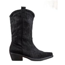 Seastar Slip-on Cowboy Boots With Pattern black