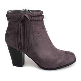 Suede Ankle Boots Fringes B324 Gray grey