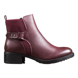 SHELOVET Comfortable Burgundy Boots red