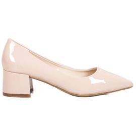 VINCEZA Lacquered pumps brown