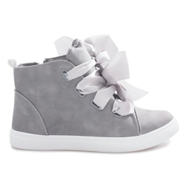 Gray high sneakers with bows TL0148-6 grey