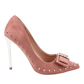 Dark pink pumps on a NF-05 heel