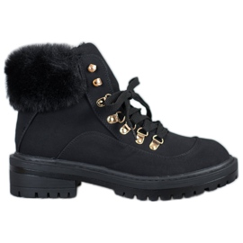 Textile Boots With Fur VICES black