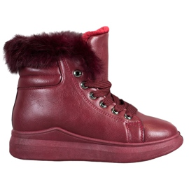 SHELOVET Tied Boots With Fur red