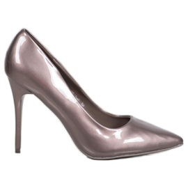 SHELOVET Lacquered pumps grey