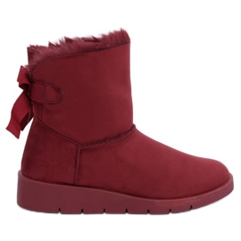 Women's snow boots maroon A-3 Wine Red
