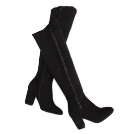 Black Thigh high heels black 7539-GG Black