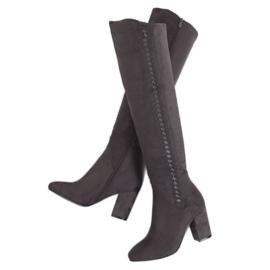 Gray Gray Thigh high heels 7539-GG Gray grey