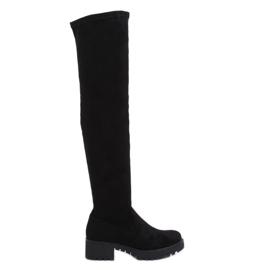 Black Suede black thigh boots 8056-GG Black
