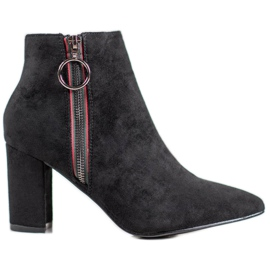 Small Swan Suede Zipper Boots black