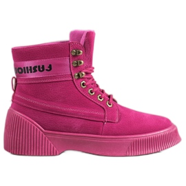 Yes Mile Knotted Fashion Boots pink