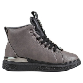 SHELOVET Lace-up boots with glitter grey