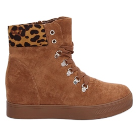 Boots on a hidden wedge camel RQ216 Camel brown