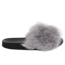 Gray Slippers with fur gray CK107P Gray grey