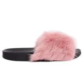 Pink Slippers with fur pink CK107P Pink