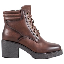 Super Mode Comfortable boots made of eco leather brown