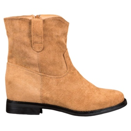 Ideal Shoes Warm Cowboy Boots On Wedge brown