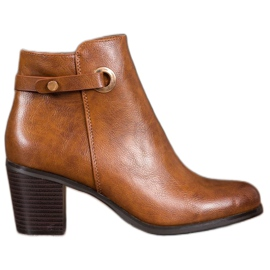 Ideal Shoes Classic Eco Leather Boots brown