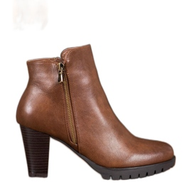 Anesia Paris Elegant Ankle Boots With Eco Leather brown