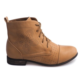 Openwork Lace-up Ankle Boots 248 Camel brown